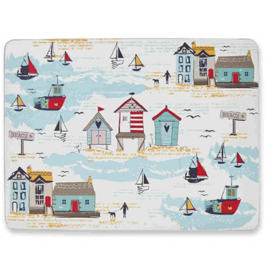 Seaside Beach Huts & Boats Placemats (4 Pack)